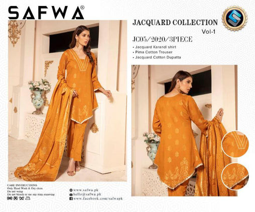 JC-05-SAFWA JACQUARD KARANDI/COTTON COLLECTION-3 PIECE DRESS - Safwa |Dresses| Pakistani Dresses| Fashion|Online Shopping