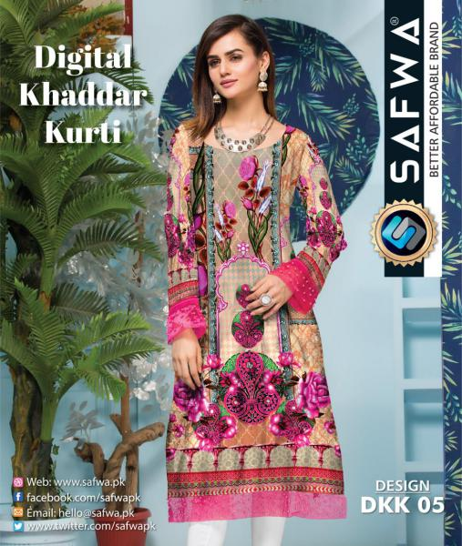 DKK 05- SAFWA DIGITAL KHADDAR -PRINT KURTI COLLECTION - SHIRT - KURTI - KAMEEZ-Shirt-Kurti-SAFWA -SAFWA Brand Pakistan online shopping for Designer Dresses |SAFWA |DRESS DESIGN| DRESSES| PAKISTANI DRESSES