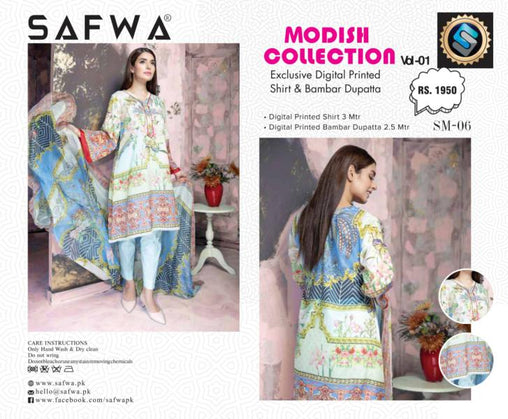 SM-06-SAFWA LAWN-MODISH COLLECTION- PRINTED -2 PIECE DRESS - Safwa |Dresses| Pakistani Dresses| Fashion|Online Shopping