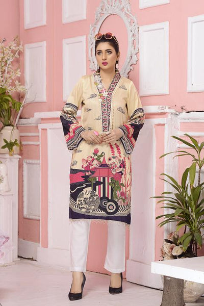 CST-06 - SAFWA DIGITAL COTTON SATIN PRINT KURTI COLLECTION -SHIRT| KURTI | KAMEEZ -SAFWA BRAND PAKISTAN , DRESS DESIGN, DRESSES , PAKISTANI DRESSES