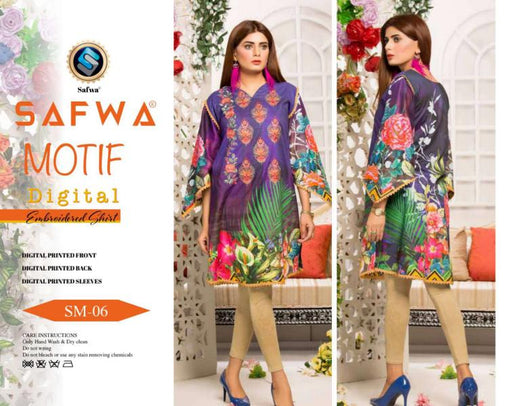 DSM 06 DIGITAL EMBROIDERY SHIRT KURTI KAMEEZ - COTTON - SAFWA MOTIF COLLECTION -  Shirt-Kurti, SAFWA, SAFWA Brand - Pakistani Dresses | Kurtis | Shalwar Kameez | Online Shopping | Lawn Dress