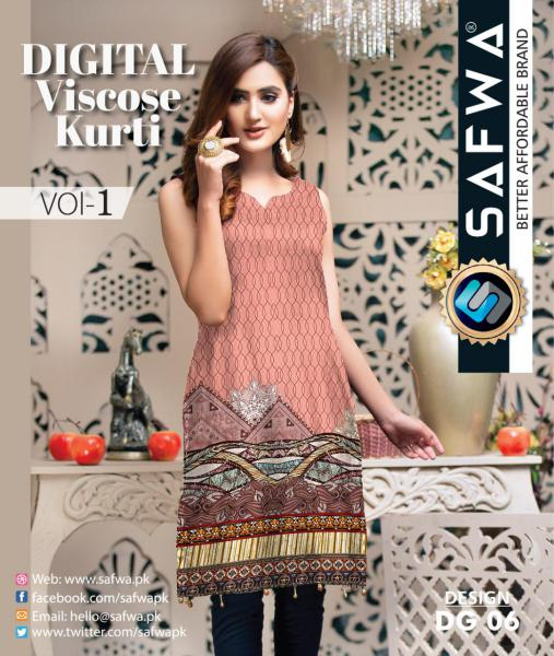 DG-06 - SAFWA - DIGITAL SHIRT - KURTI - VISCOSE KAMEEZ -SAFWA DRESS DESIGN, DRESSES, PAKISTANI DRESSES,-Shirt-Kurti-SAFWA Textile -SAFWA Brand Pakistan online shopping for Designer Dresses