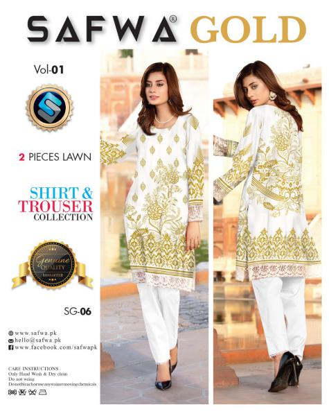 SG-06-SAFWA FINE COTTON GOLD COLLECTION-DIGITAL 2 PIECE - Safwa-Pakistani Dresses-Dresses-Kurti-Shop Online