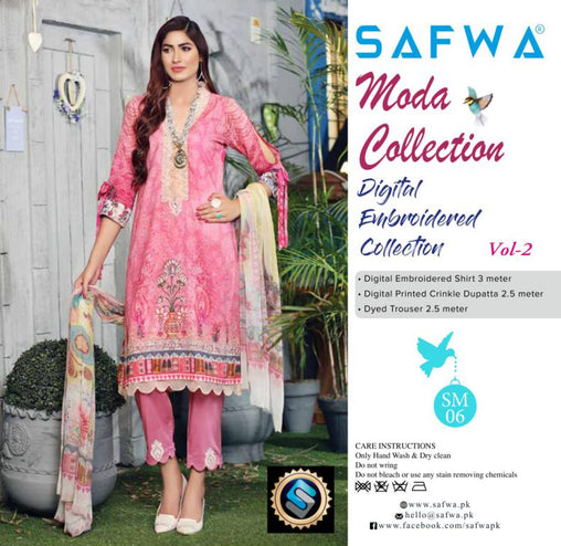 MC-16 - MODA COLLECTION VOL 2- 3PIECE SUIT-Lawn 2019 - Three Piece Suit - safwa