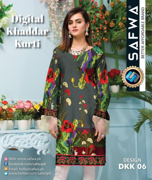 DKK 06- SAFWA DIGITAL KHADDAR -PRINT KURTI COLLECTION - SHIRT - KURTI - KAMEEZ-Shirt-Kurti-SAFWA -SAFWA Brand Pakistan online shopping for Designer Dresses |SAFWA |DRESS DESIGN| DRESSES| PAKISTANI DRESSES