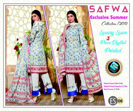 ES 06 - Exclusive  Collection Vol 1 - 3 PIECE SUIT 2019-Three Piece Suit-SAFWA -SAFWA Brand Pakistan online shopping for Designer Dresses-SAFWA DRESS DESIGN, DRESSES, PAKISTANI DRESSES