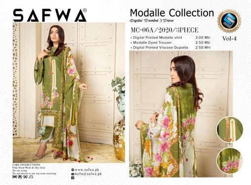 MCA 06 - SAFWA DIGITAL MODALLE 3 PIECE PRINT COLLECTION -SHIRT Trouser and Duptta |SAFWA DRESS DESIGN| DRESSES| PAKISTANI DRESSES| SAFWA -SAFWA Brand Pakistan online shopping for Designer Dresses