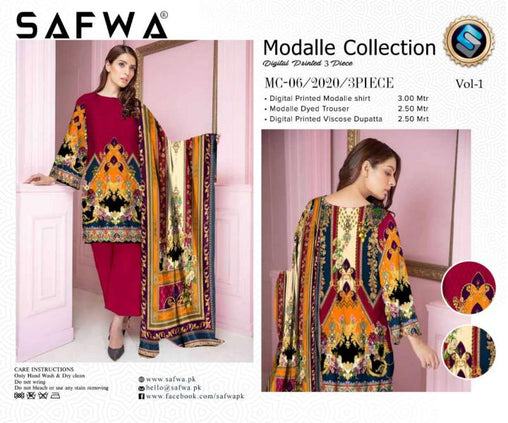 MC 06 - SAFWA DIGITAL MODALLE 3 PIECE PRINT COLLECTION -SHIRT Trouser and Duptta |SAFWA DRESS DESIGN| DRESSES| PAKISTANI DRESSES| SAFWA -SAFWA Brand Pakistan online shopping for Designer Dresses