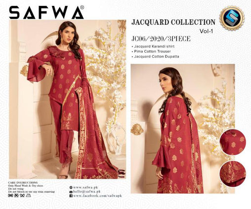 JC-06-SAFWA JACQUARD KARANDI/COTTON COLLECTION-3 PIECE DRESS - Safwa |Dresses| Pakistani Dresses| Fashion|Online Shopping