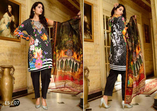 ES-07-SAFWA EVA SATIN COLLECTION vol 1-3 PIECE SUIT-Three Piece Suit Dress Design, Pakistani Dresses, Online Shopping in Pakistan