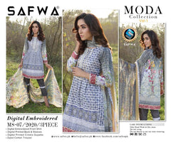 MS-07 - SAFWA DIGITAL EMBROIDERED 3 PIECE MODA COLLECTION -SHIRT Trouser and Duptta |SAFWA DRESS DESIGN| DRESSES| PAKISTANI DRESSES| SAFWA -SAFWA Brand Pakistan online shopping for Designer Dresses