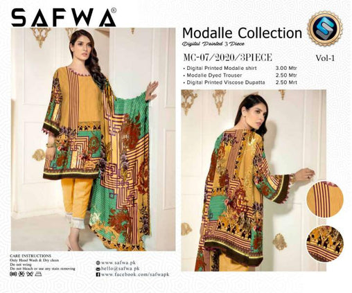 MC 07 - SAFWA DIGITAL MODALLE 3 PIECE PRINT COLLECTION -SHIRT Trouser and Duptta |SAFWA DRESS DESIGN| DRESSES| PAKISTANI DRESSES| SAFWA -SAFWA Brand Pakistan online shopping for Designer Dresses