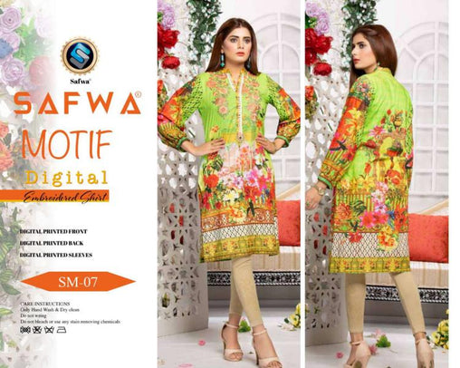 DSM 07 DIGITAL EMBROIDERY SHIRT KURTI KAMEEZ - COTTON - SAFWA MOTIF COLLECTION -  Shirt-Kurti, SAFWA, SAFWA Brand - Pakistani Dresses | Kurtis | Shalwar Kameez | Online Shopping | Lawn Dress
