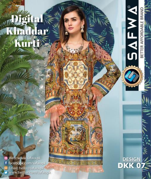 DKK 07- SAFWA DIGITAL KHADDAR -PRINT KURTI COLLECTION - SHIRT - KURTI - KAMEEZ-Shirt-Kurti-SAFWA -SAFWA Brand Pakistan online shopping for Designer Dresses |SAFWA |DRESS DESIGN| DRESSES| PAKISTANI DRESSES