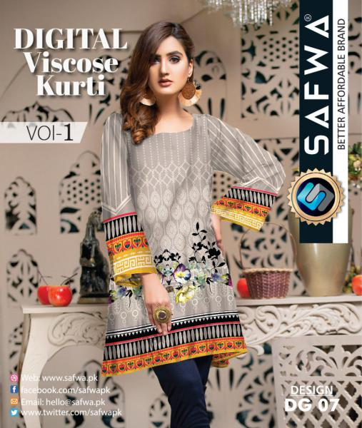 DG-07 - SAFWA - DIGITAL SHIRT - KURTI - VISCOSE KAMEEZ -SAFWA DRESS DESIGN, DRESSES, PAKISTANI DRESSES,-Shirt-Kurti-SAFWA Textile -SAFWA Brand Pakistan online shopping for Designer Dresses