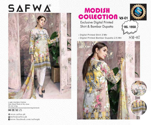 SM-07-SAFWA LAWN-MODISH COLLECTION- PRINTED -2 PIECE DRESS - Safwa |Dresses| Pakistani Dresses| Fashion|Online Shopping