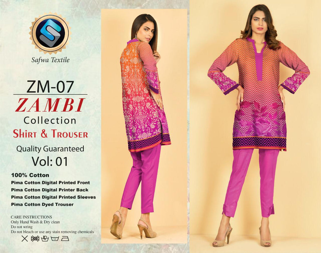 ZM-07-SAFWA COTTON-ZAMBI COLLECTION- PRINTED -2 PIECE DRESS