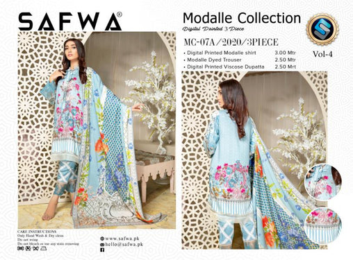 MCA 07 - SAFWA DIGITAL MODALLE 3 PIECE PRINT COLLECTION -SHIRT Trouser and Duptta |SAFWA DRESS DESIGN| DRESSES| PAKISTANI DRESSES| SAFWA -SAFWA Brand Pakistan online shopping for Designer Dresses
