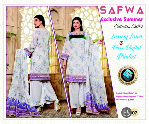ES 07 - Exclusive  Collection Vol 1 - 3 PIECE SUIT 2019-Three Piece Suit-SAFWA -SAFWA Brand Pakistan online shopping for Designer Dresses-SAFWA DRESS DESIGN, DRESSES, PAKISTANI DRESSES