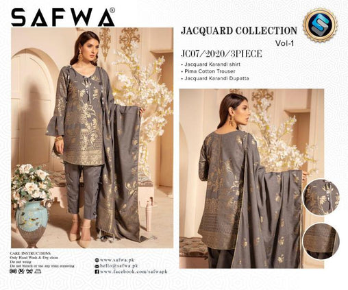JC-07-SAFWA JACQUARD KARANDI/COTTON COLLECTION-3 PIECE DRESS - Safwa |Dresses| Pakistani Dresses| Fashion|Online Shopping
