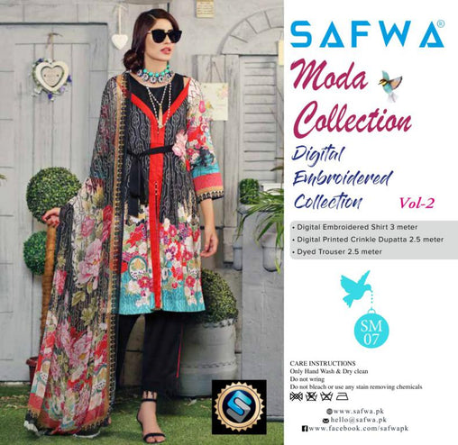 MC-17 - MODA COLLECTION VOL 2- 3PIECE SUIT-Lawn 2019 - Three Piece Suit - safwa