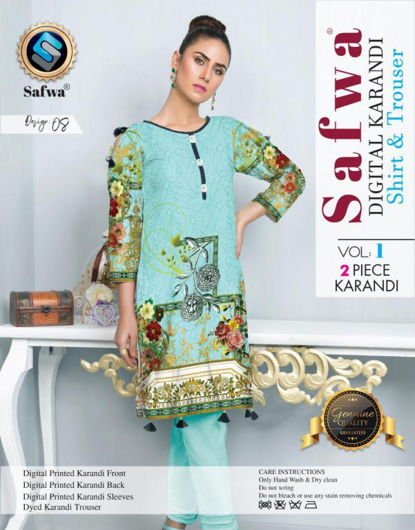 DK 08 - SAFWA DIGITAL KHADDAR 2 PIECE  PRINT COLLECTION -SHIRT and Trouser |SAFWA DRESS DESIGN| DRESSES| PAKISTANI DRESSES| SAFWA -SAFWA Brand Pakistan online shopping for Designer Dresses