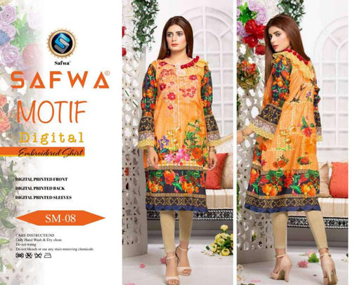 DSM 08 DIGITAL EMBROIDERY SHIRT KURTI KAMEEZ - COTTON - SAFWA MOTIF COLLECTION -  Shirt-Kurti, SAFWA, SAFWA Brand - Pakistani Dresses | Kurtis | Shalwar Kameez | Online Shopping | Lawn Dress