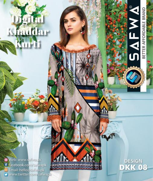 DKK 08- SAFWA DIGITAL KHADDAR -PRINT KURTI COLLECTION - SHIRT - KURTI - KAMEEZ-Shirt-Kurti-SAFWA -SAFWA Brand Pakistan online shopping for Designer Dresses |SAFWA |DRESS DESIGN| DRESSES| PAKISTANI DRESSES