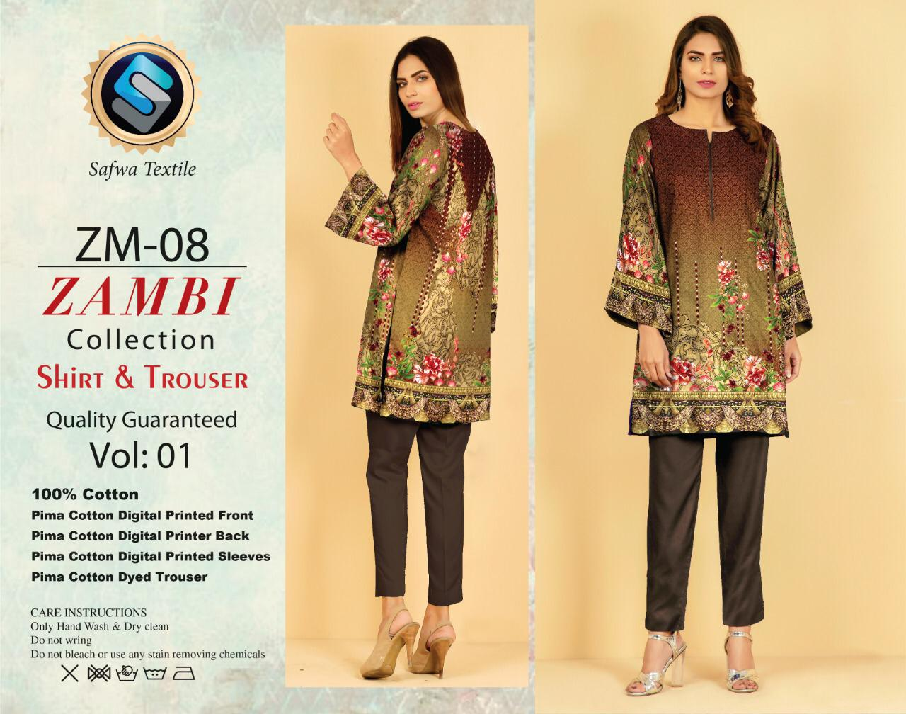 ZM-08-SAFWA COTTON-ZAMBI COLLECTION- PRINTED -2 PIECE DRESS - Two Piece Suit - safwa