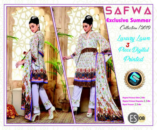 ES 08 - Exclusive  Collection Vol 1 - 3 PIECE SUIT 2019-Three Piece Suit-SAFWA -SAFWA Brand Pakistan online shopping for Designer Dresses-SAFWA DRESS DESIGN, DRESSES, PAKISTANI DRESSES