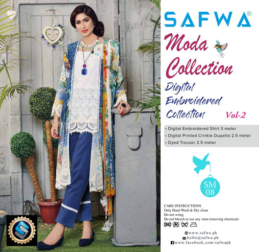 MC-18 - MODA COLLECTION VOL 2- 3PIECE SUIT-Lawn 2019 - Three Piece Suit - safwa
