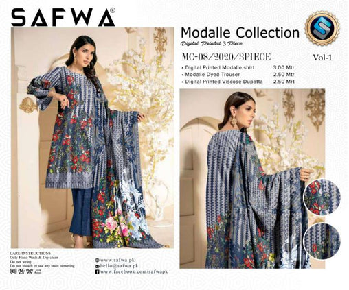 MC 08 - SAFWA DIGITAL MODALLE 3 PIECE PRINT COLLECTION -SHIRT Trouser and Duptta |SAFWA DRESS DESIGN| DRESSES| PAKISTANI DRESSES| SAFWA -SAFWA Brand Pakistan online shopping for Designer Dresses