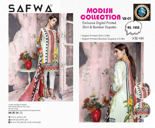 SM-08-SAFWA LAWN-MODISH COLLECTION- PRINTED -2 PIECE DRESS - Safwa |Dresses| Pakistani Dresses| Fashion|Online Shopping