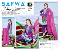 AC-08-SAFWA AWESOME COLLECTION Vol 1-3 PIECE SUIT SAFWA Three Piece Suit Dress Design, Pakistani Dresses, Online Shopping in Pakistan
