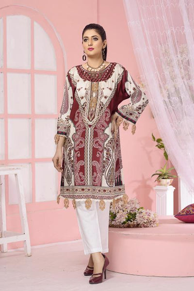 CST-09 - SAFWA DIGITAL COTTON SATIN PRINT KURTI COLLECTION -SHIRT| KURTI | KAMEEZ -SAFWA BRAND PAKISTAN , DRESS DESIGN, DRESSES , PAKISTANI DRESSES
