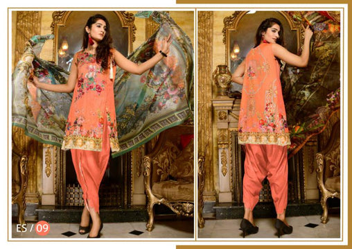 ES-09-SAFWA EVA SATIN COLLECTION vol 1-3 PIECE SUIT-Three Piece Suit Dress Design, Pakistani Dresses, Online Shopping in Pakistan
