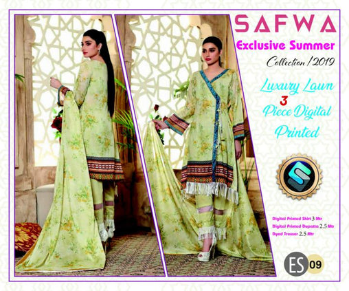 ES 09 - Exclusive  Collection Vol 1 - 3 PIECE SUIT 2019-Three Piece Suit-SAFWA -SAFWA Brand Pakistan online shopping for Designer Dresses-SAFWA DRESS DESIGN, DRESSES, PAKISTANI DRESSES
