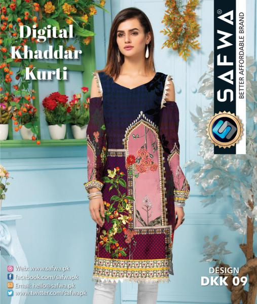 DKK 09- SAFWA DIGITAL KHADDAR -PRINT KURTI COLLECTION - SHIRT - KURTI - KAMEEZ-Shirt-Kurti-SAFWA -SAFWA Brand Pakistan online shopping for Designer Dresses |SAFWA |DRESS DESIGN| DRESSES| PAKISTANI DRESSES