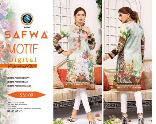 DSM 09 DIGITAL EMBROIDERY SHIRT KURTI KAMEEZ - COTTON - SAFWA MOTIF COLLECTION -  Shirt-Kurti, SAFWA, SAFWA Brand - Pakistani Dresses | Kurtis | Shalwar Kameez | Online Shopping | Lawn Dress