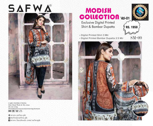 SM-09-SAFWA LAWN-MODISH COLLECTION- PRINTED -2 PIECE DRESS - Safwa |Dresses| Pakistani Dresses| Fashion|Online Shopping