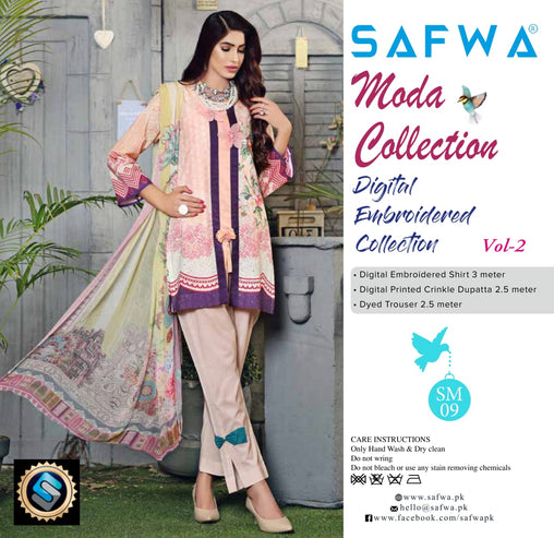MC-19 - MODA COLLECTION VOL 2- 3PIECE SUIT-Lawn 2019 - Three Piece Suit - safwa