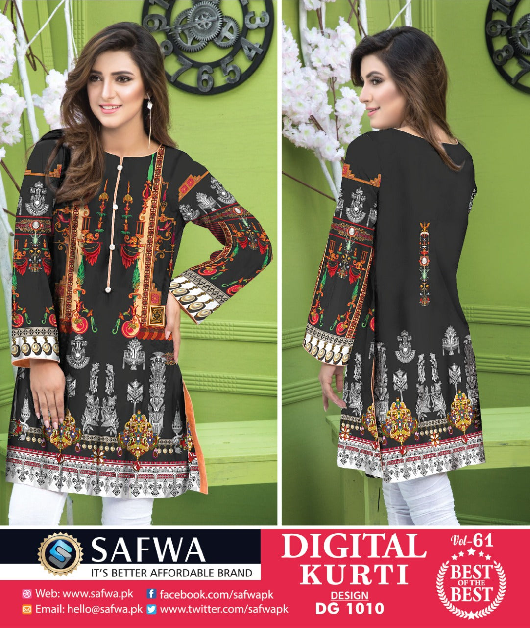 DG1010 - SAFWA DIGITAL COTTON PRINT KURTI COLLECTION -SHIRT KURTI KAMEEZ-Shirt-Kurti-SAFWA -SAFWA Brand Pakistan online shopping for Designer DressesSAFWA DRESS DESIGN, DRESSES, PAKISTANI DRESSES