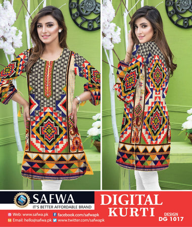 DG1017 - SAFWA DIGITAL COTTON PRINT KURTI COLLECTION -SHIRT KURTI KAMEEZ