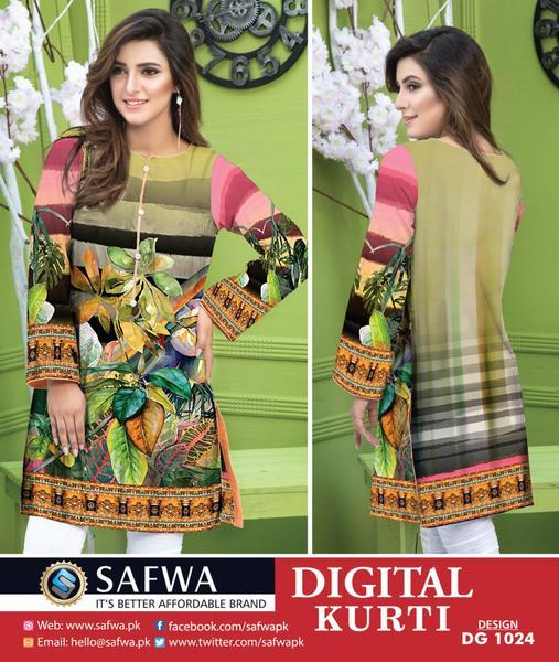 DG1024- SAFWA DIGITAL COTTON PRINT KURTI COLLECTION -SHIRT KURTI KAMEEZ-Shirt-Kurti-SAFWA -SAFWA Brand Pakistan online shopping for Designer Dresses SAFWA DRESS DESIGN, DRESSES, PAKISTANI DRESSES,
