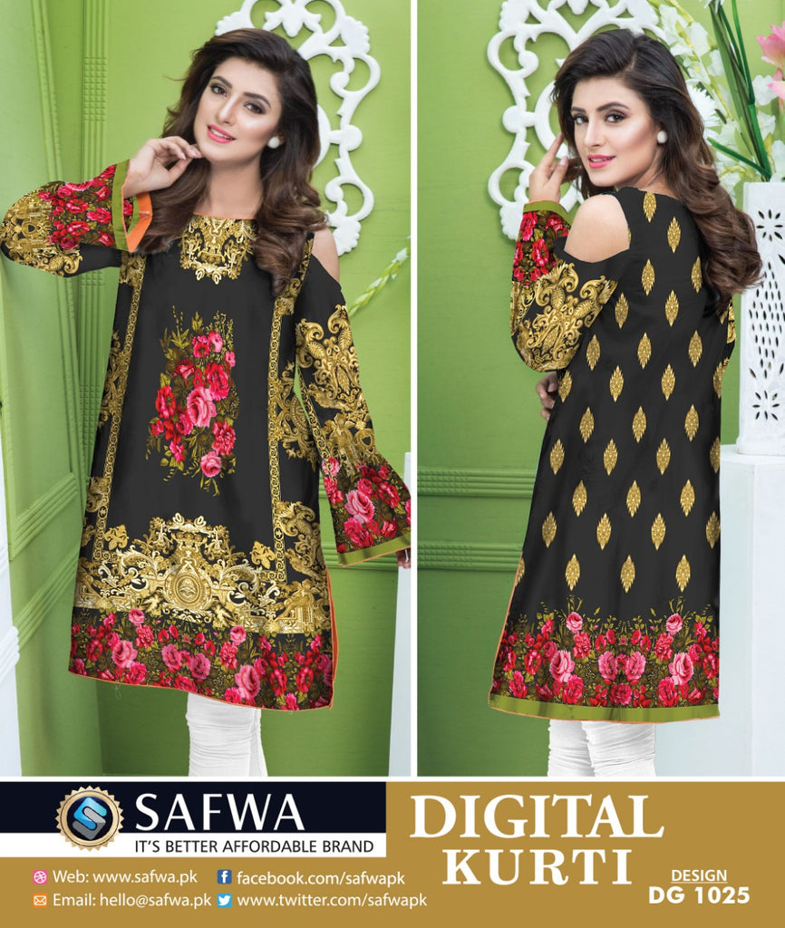 DG1025- SAFWA DIGITAL COTTON PRINT KURTI COLLECTION -SHIRT KURTI KAMEEZ