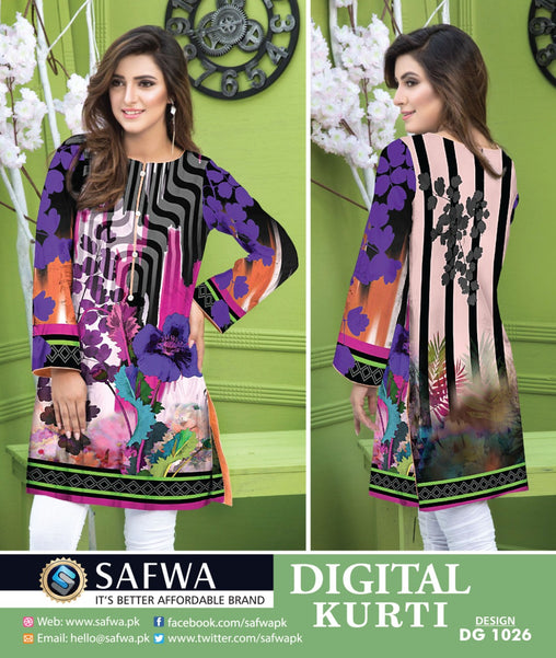 SAFWA DRESS DESIGN, DRESSES, PAKISTANI DRESSES, DG1026- SAFWA DIGITAL COTTON PRINT KURTI COLLECTION -SHIRT KURTI KAMEEZ-Shirt-Kurti-SAFWA -SAFWA Brand Pakistan online shopping for Designer Dresses