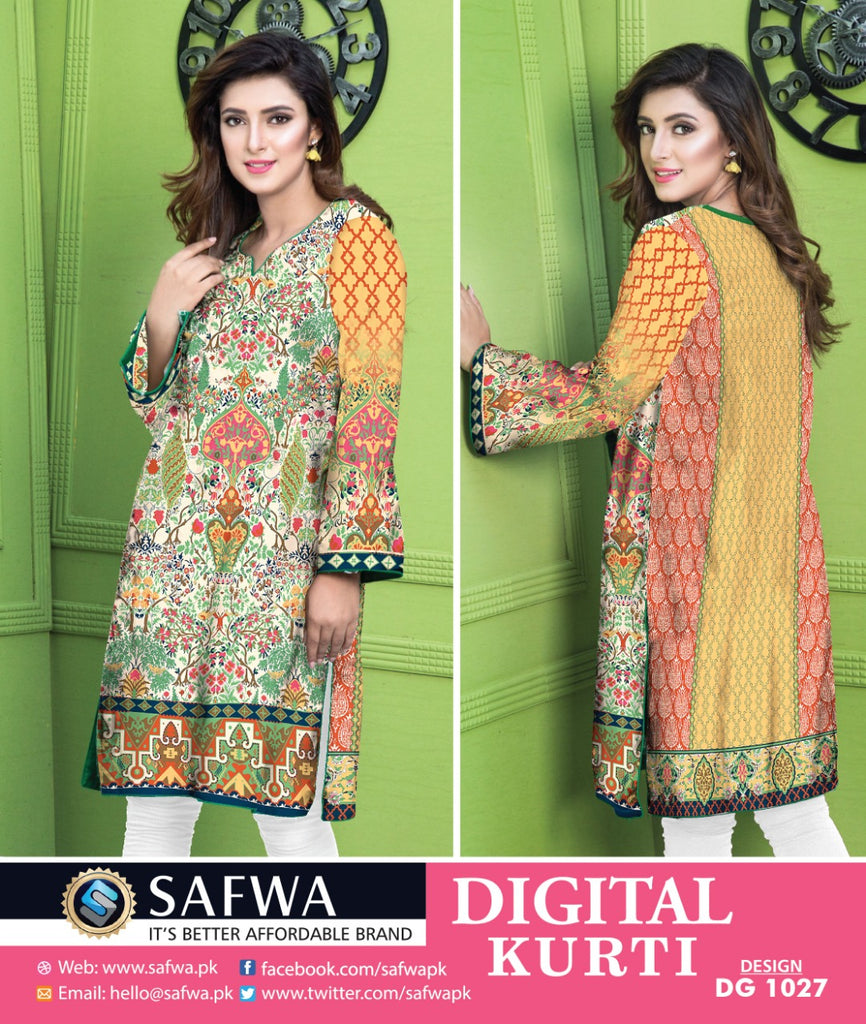 DG1027- SAFWA DIGITAL COTTON PRINT KURTI COLLECTION -SHIRT KURTI KAMEEZ