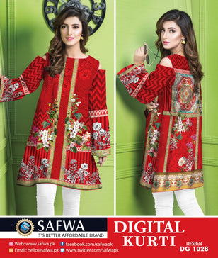 DG1028- SAFWA DIGITAL COTTON PRINT KURTI COLLECTION -SHIRT KURTI KAMEEZ - Shirt-Kurti - Safwa Pakistan Fashion