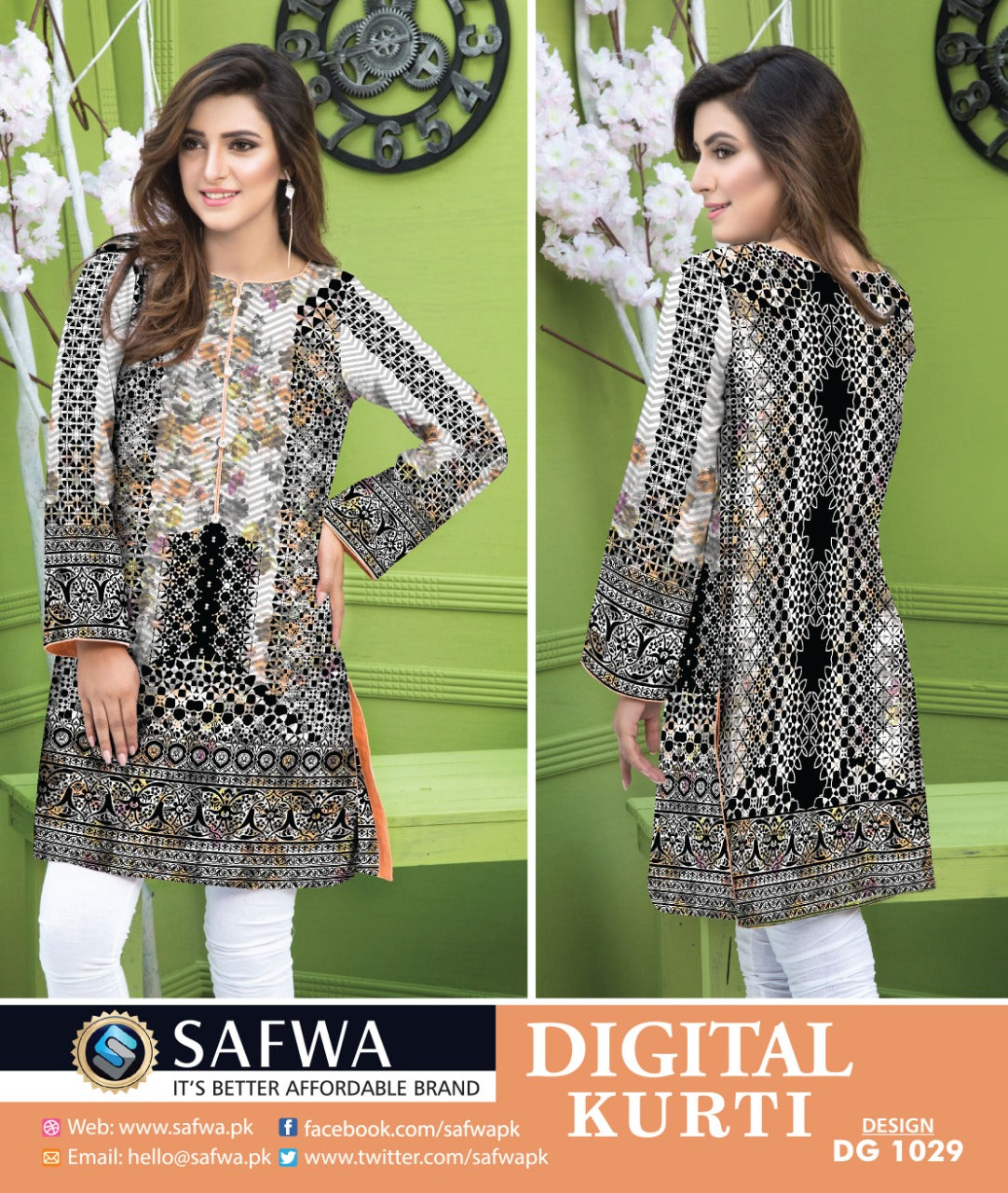 DG1029- SAFWA DIGITAL COTTON PRINT STITCH KURTI COLLECTION -SHIRT KURTI KAMEEZ-Shirt-Kurti-SAFWA -SAFWA Brand Pakistan online shopping for Designer Dresses SAFWA DRESS DESIGN, DRESSES, PAKISTANI DRESSES