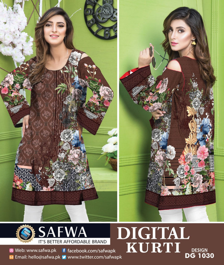 DG1030- SAFWA DIGITAL COTTON PRINT KURTI COLLECTION -SHIRT KURTI KAMEEZ